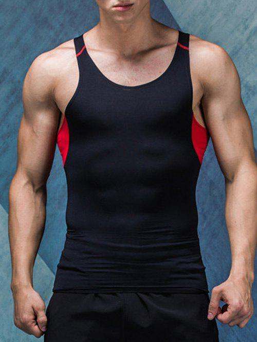 Color Block Quick-Dry Round Neck Fitted Men's Tank Top - BLACK L