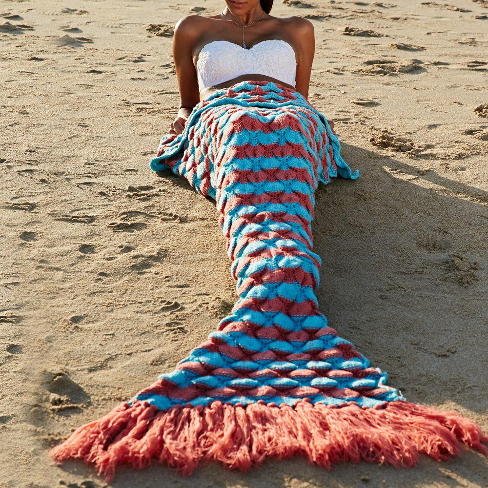 Chic Quality Wool Knitting Fish Scale and Tassel Design Mermaid Shape Blanket - JACINTH