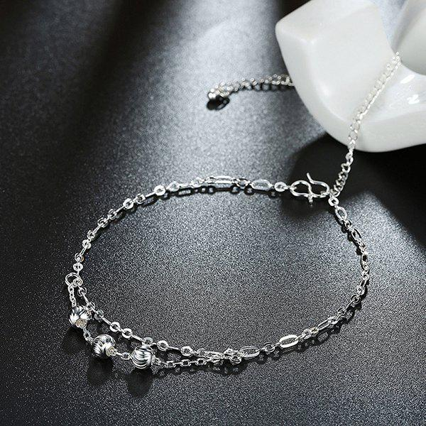 Alloy Ball Layered Charm Anklet - SILVER
