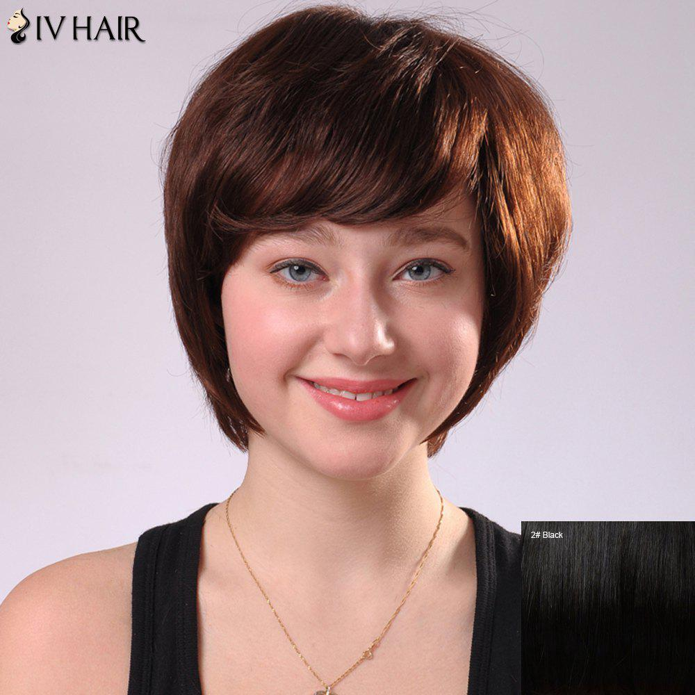 Sweet Short Side Bang Women's Siv Human Hair Capless Wig - BLACK