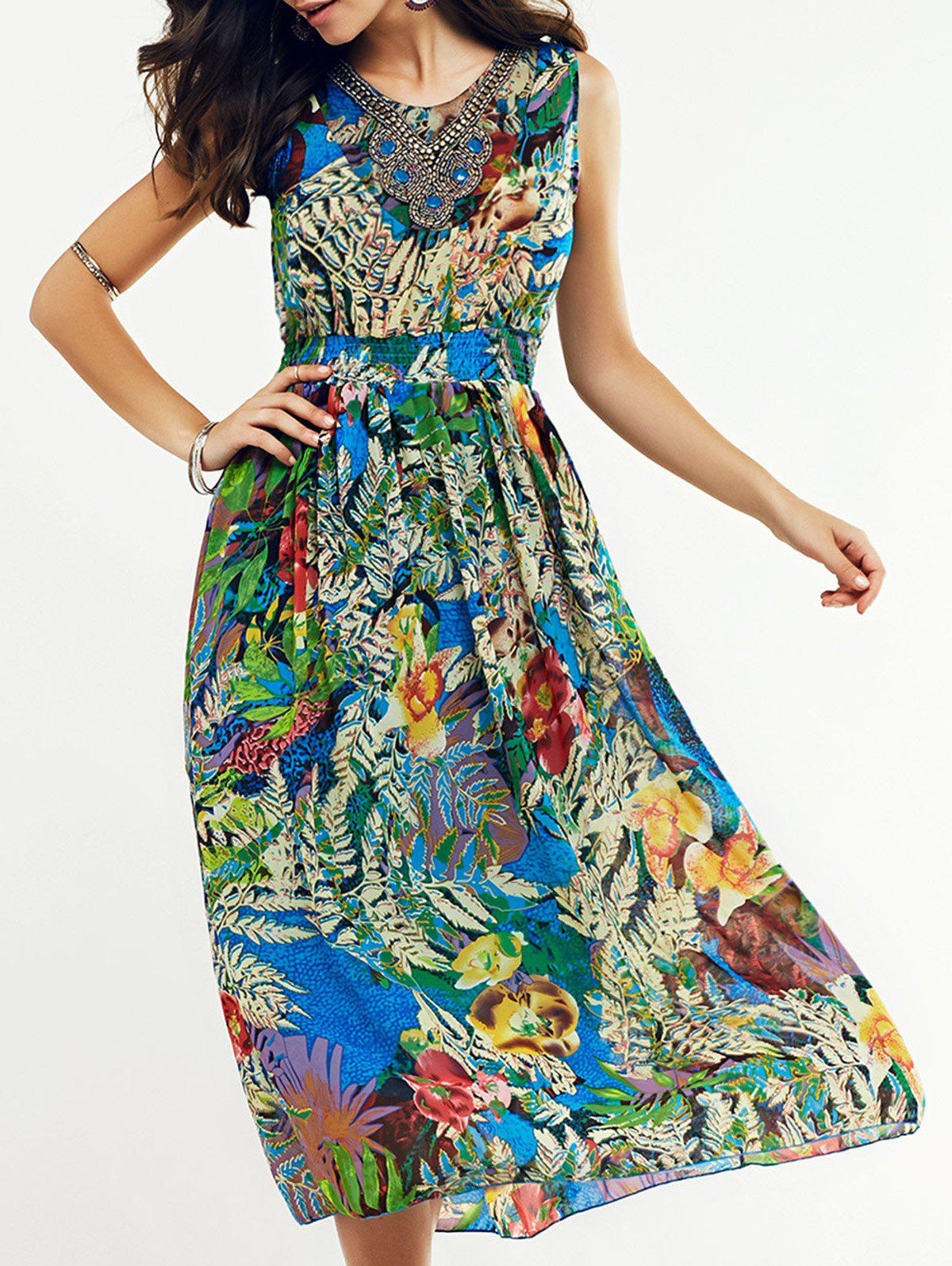 Bohemian Beaded Leaf Tropical Print Midi Dress