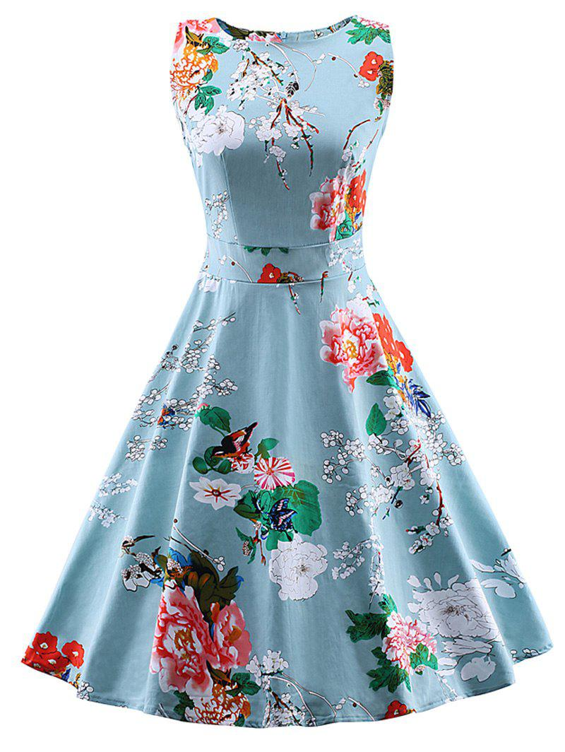 Vintage Tie Back Floral Swing Tea Dress - LIGHT BLUE L