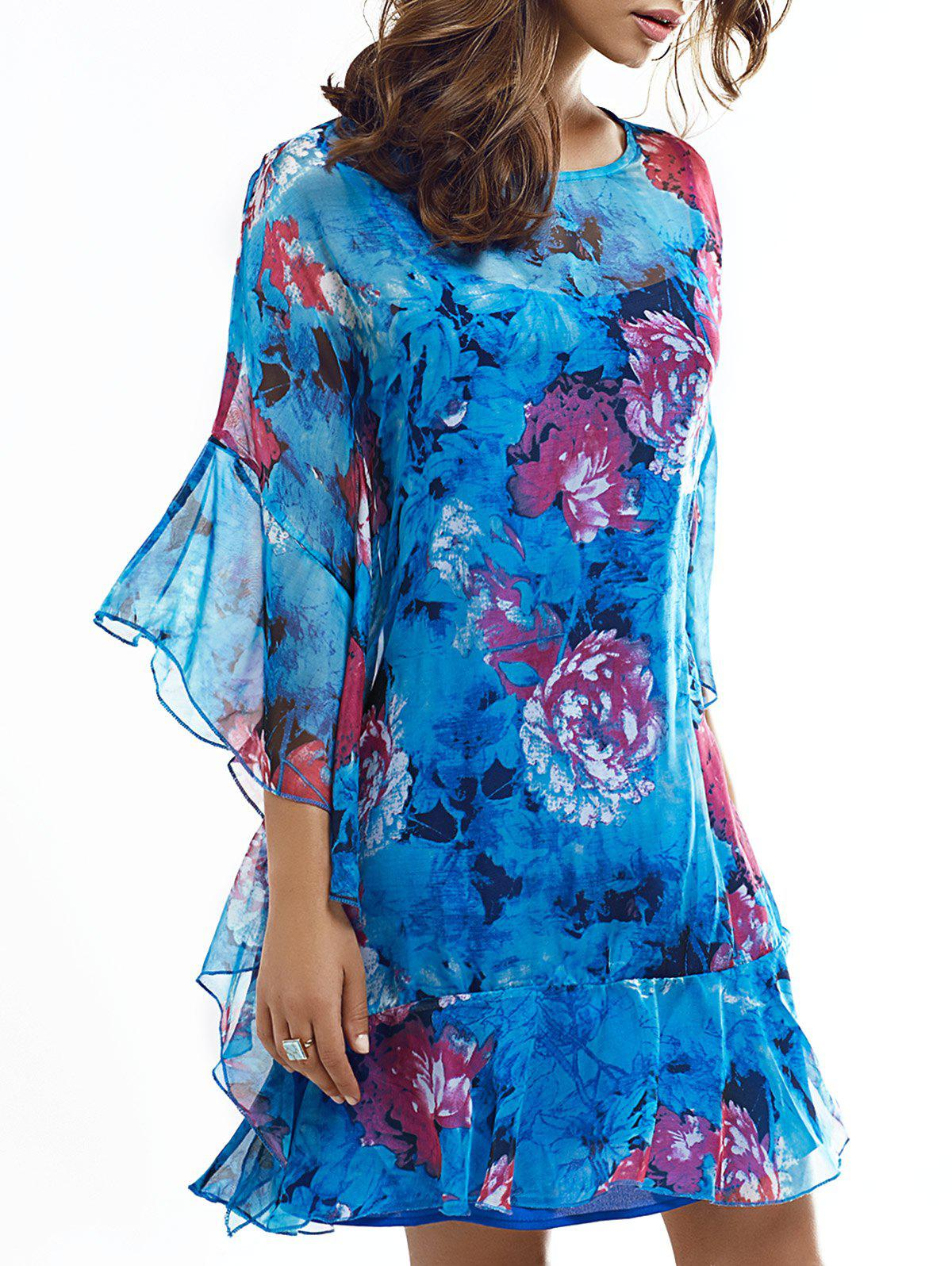 Elegant Floral Print Dolman Sleeve Ruffle Layered Dress - BLUE XL