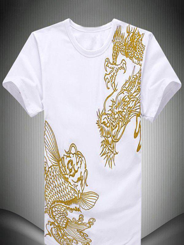 Fish chinese dragon embroidered short sleeve men 39 s t shirt for Embroidered fishing shirts