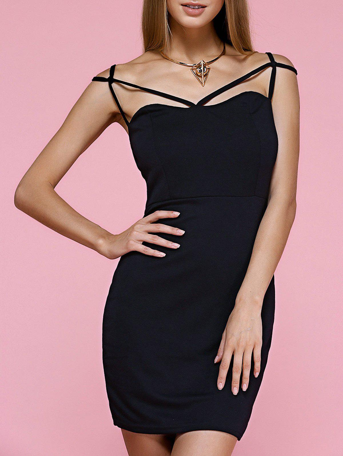 Alluring Spaghetti Strap Criss Cross Black Dress For Women - BLACK L