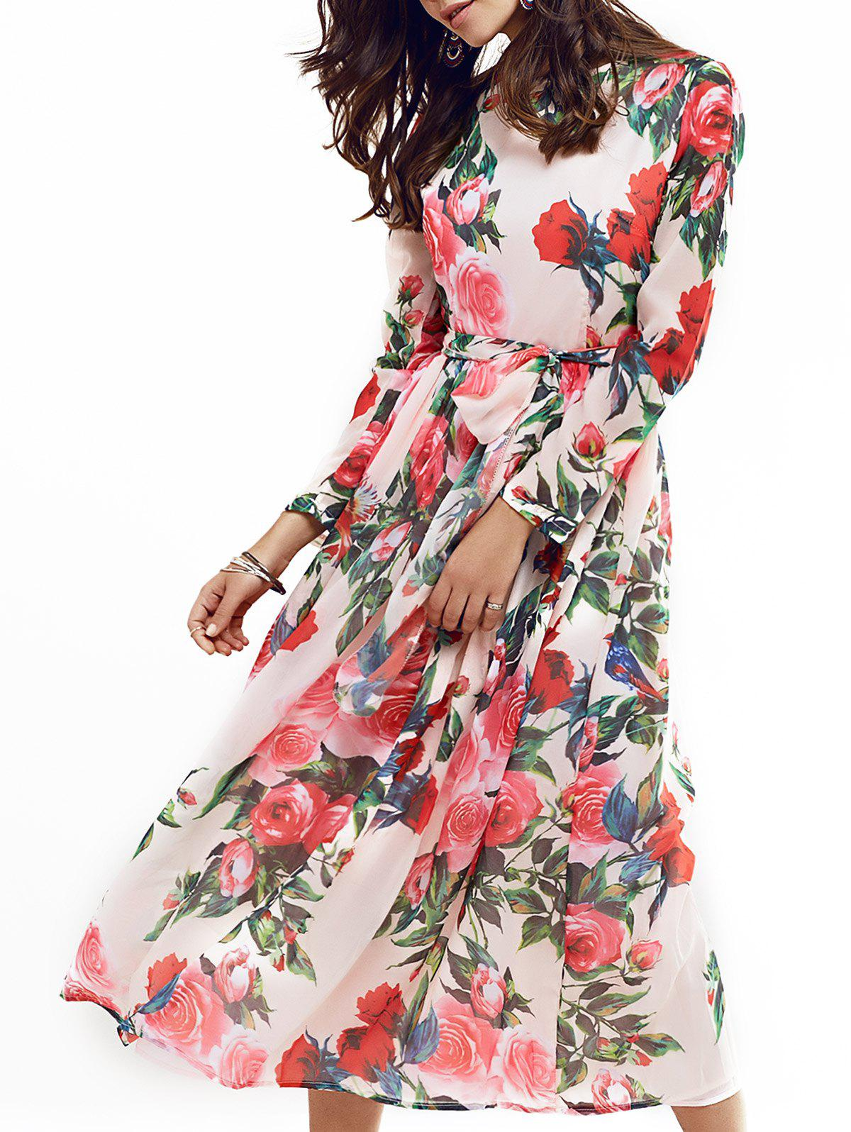Vintage Long Sleeve Rose Print Full Dress - COLORMIX M
