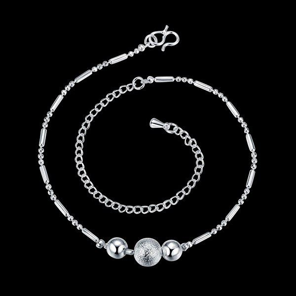 Simple Style Silver Plated Emboss Ball Charm Anklet For Women - SILVER