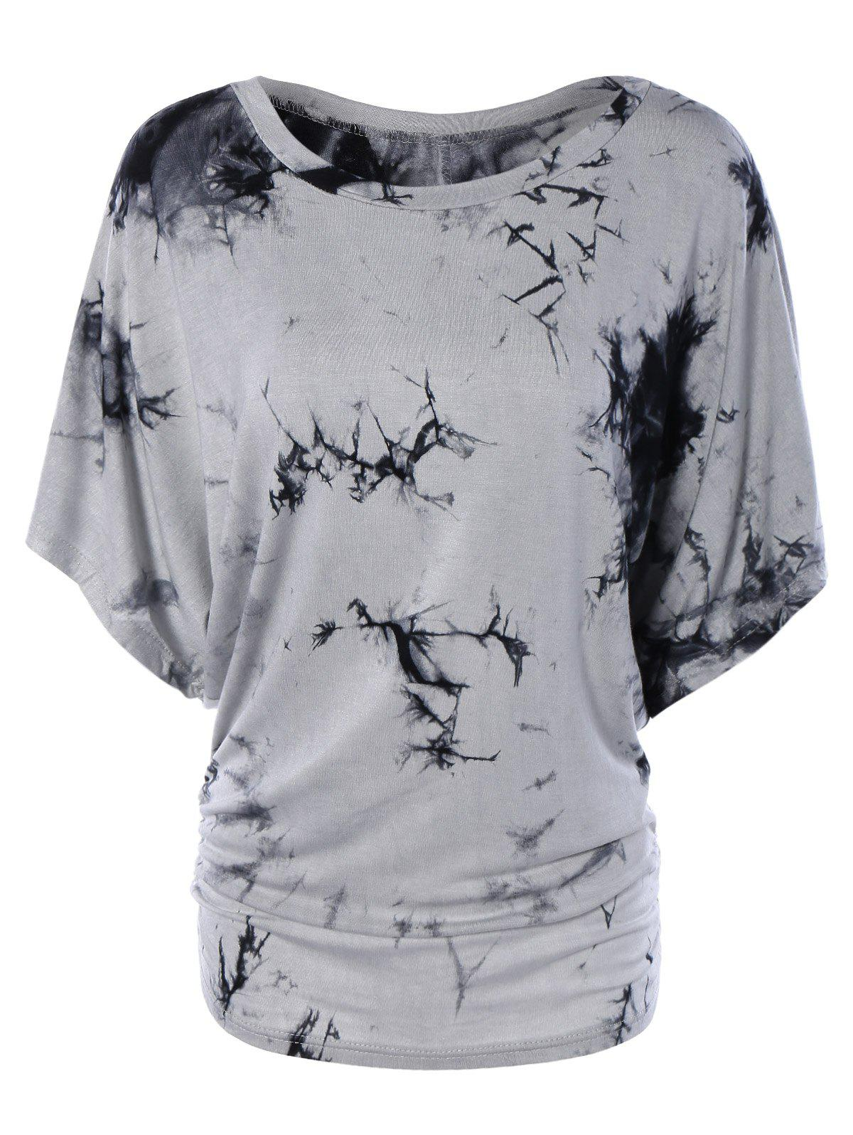 Scoop Neck Dolman Sleeve Tie-Dyed T-Shirt - GRAY XL
