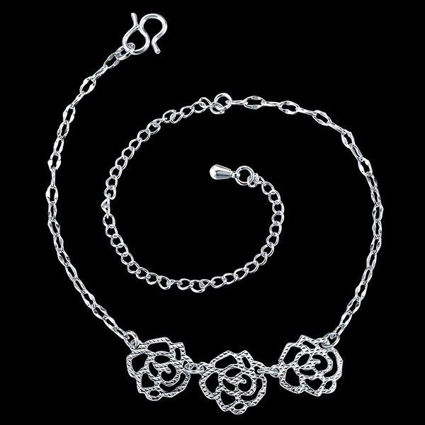 Elegant Silver Plated Filigree Rose Charm Anklet For Women - SILVER
