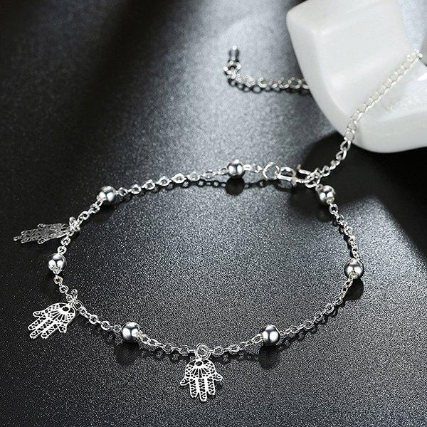 Filagree Palm Bead Charm Anklet - SILVER
