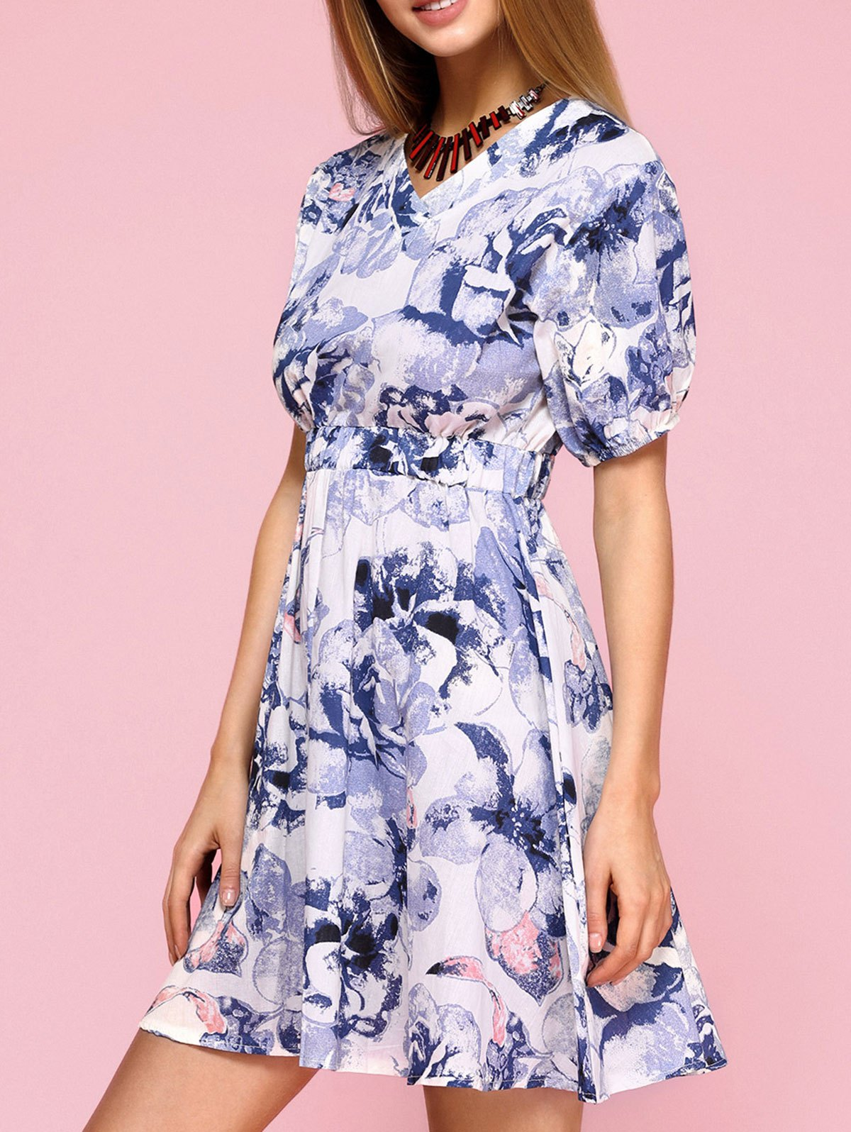 Graceful Puff Sleeve Floral Flare Dress For Women - BLUE S