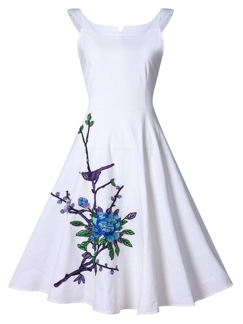 Vintage Flower Embroidery Swing Dress - WHITE 4XL