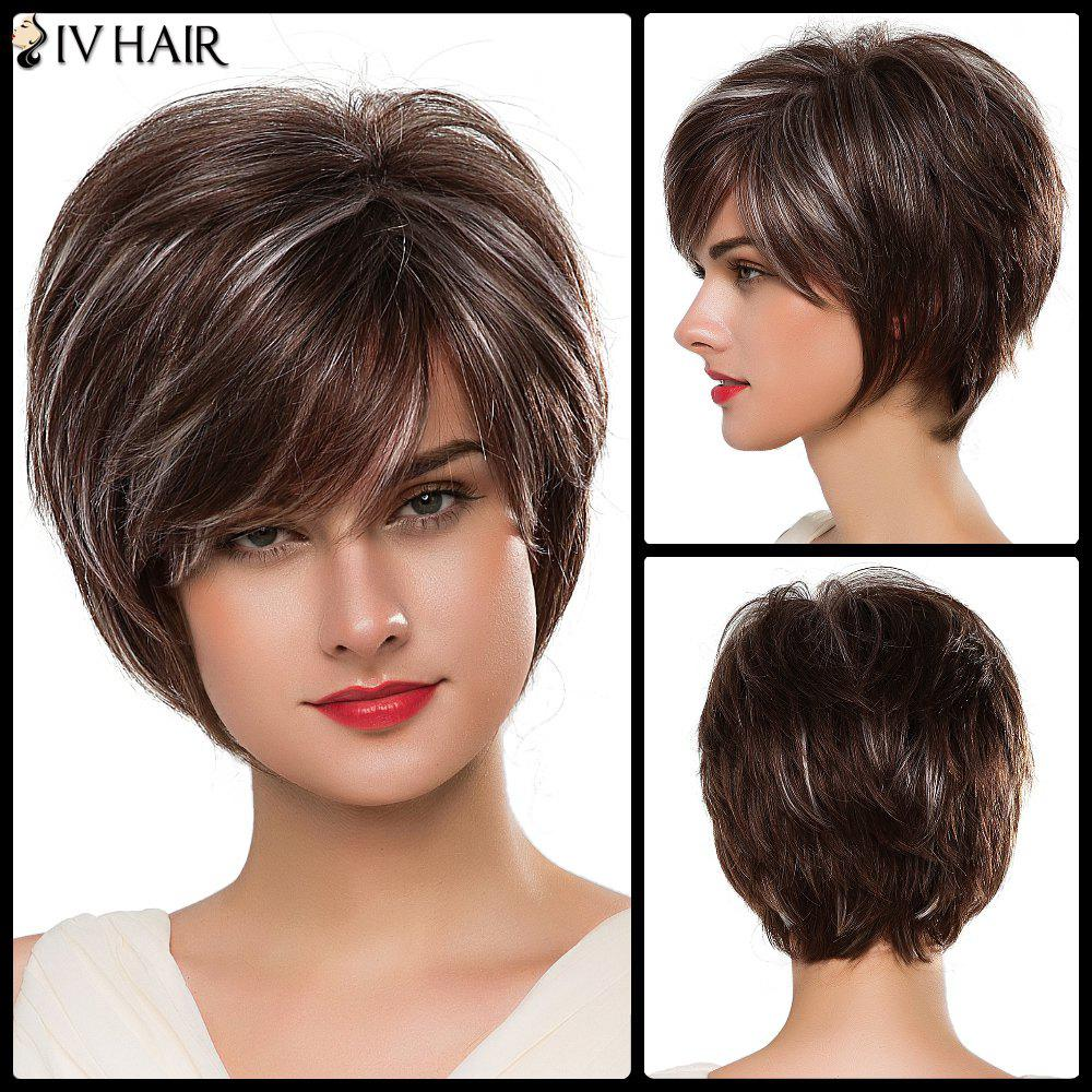 Sophisticated Capless Short Fluffy Side Bang Women's Siv Human Hair Wig