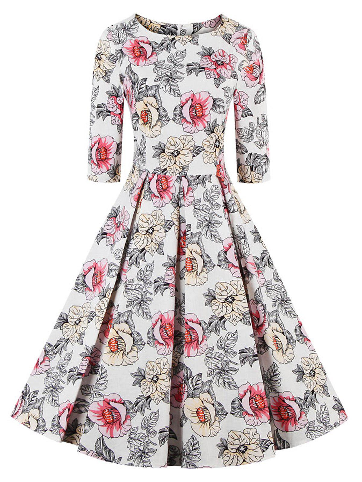 Floral Fit and Flare Swing Dress - OFF WHITE 4XL