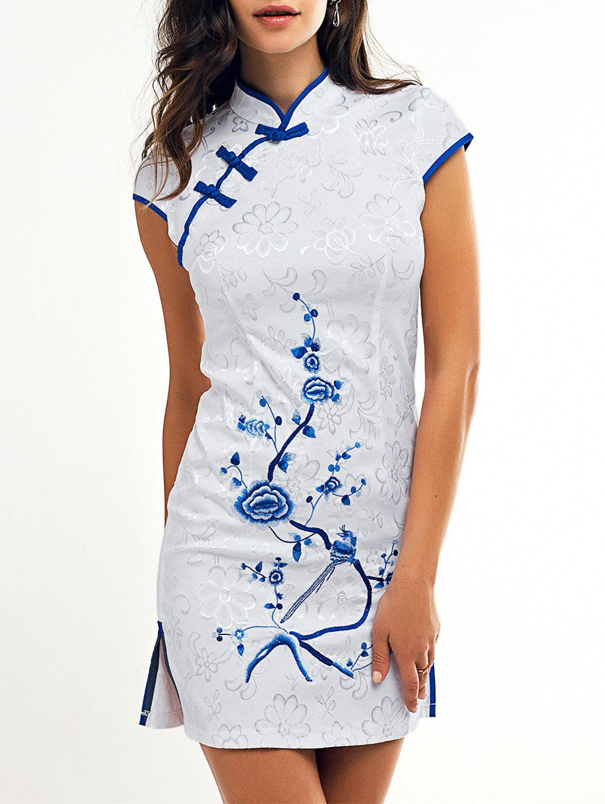 Elegant Plate Button Embroidery Cheongsam - WHITE 2XL