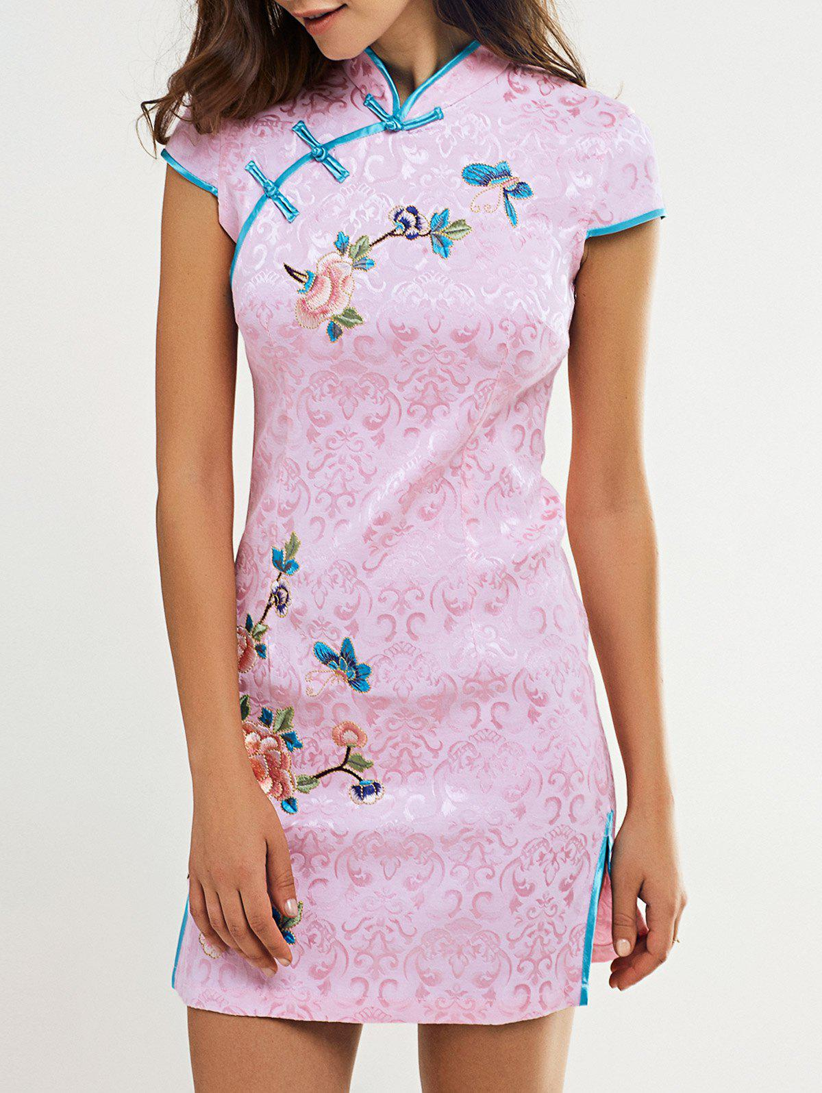 Plate Button Butterfly and Floral Pattern Cheongsam - PINK XL