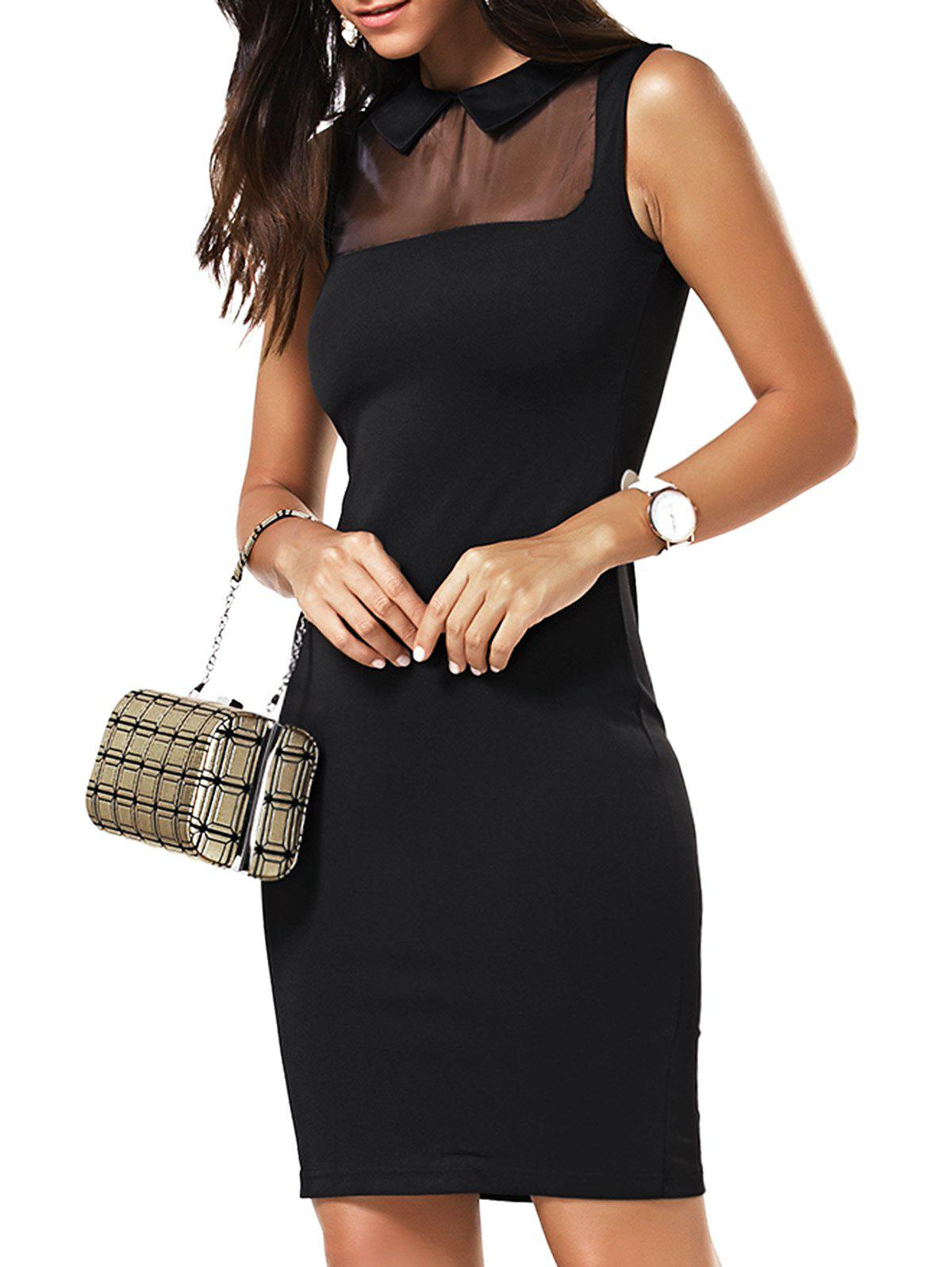 Flat Collar Mesh Panelled Bodycon Dress - BLACK 4XL