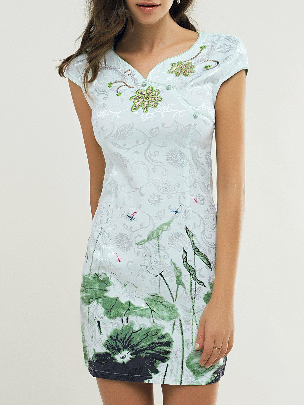 Slant Button Lotus Leaf Embroidery Cheongsam - LIGHT GREEN L