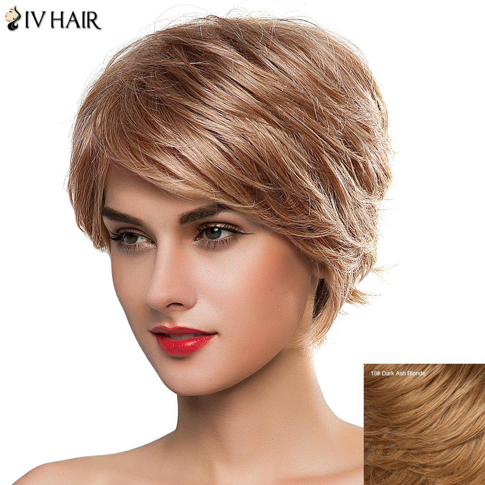Sophisticated Short Fluffy Side Bang Women's Siv Human Hair Wig - DARK ASH BLONDE