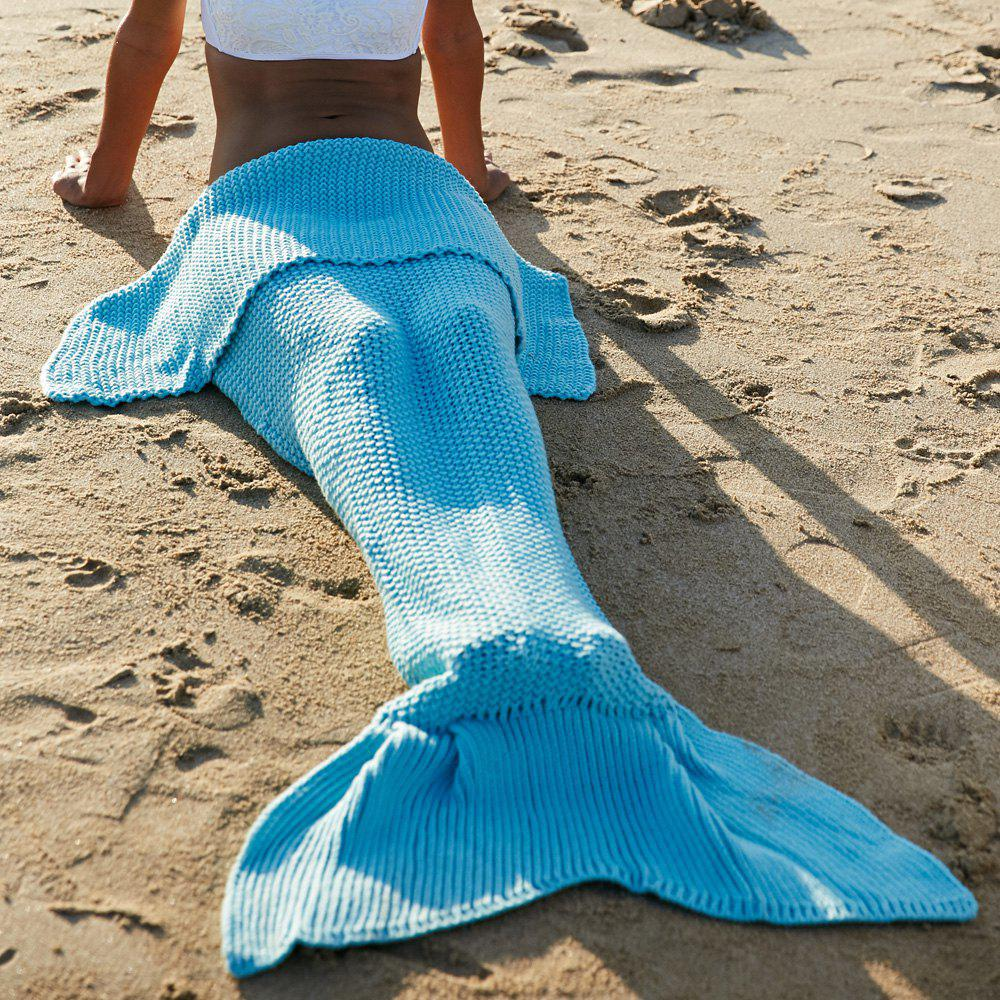 High Quality Wool Knitting Fish Tail Design Blanket For AdultHome<br><br><br>Color: LIGHT BLUE