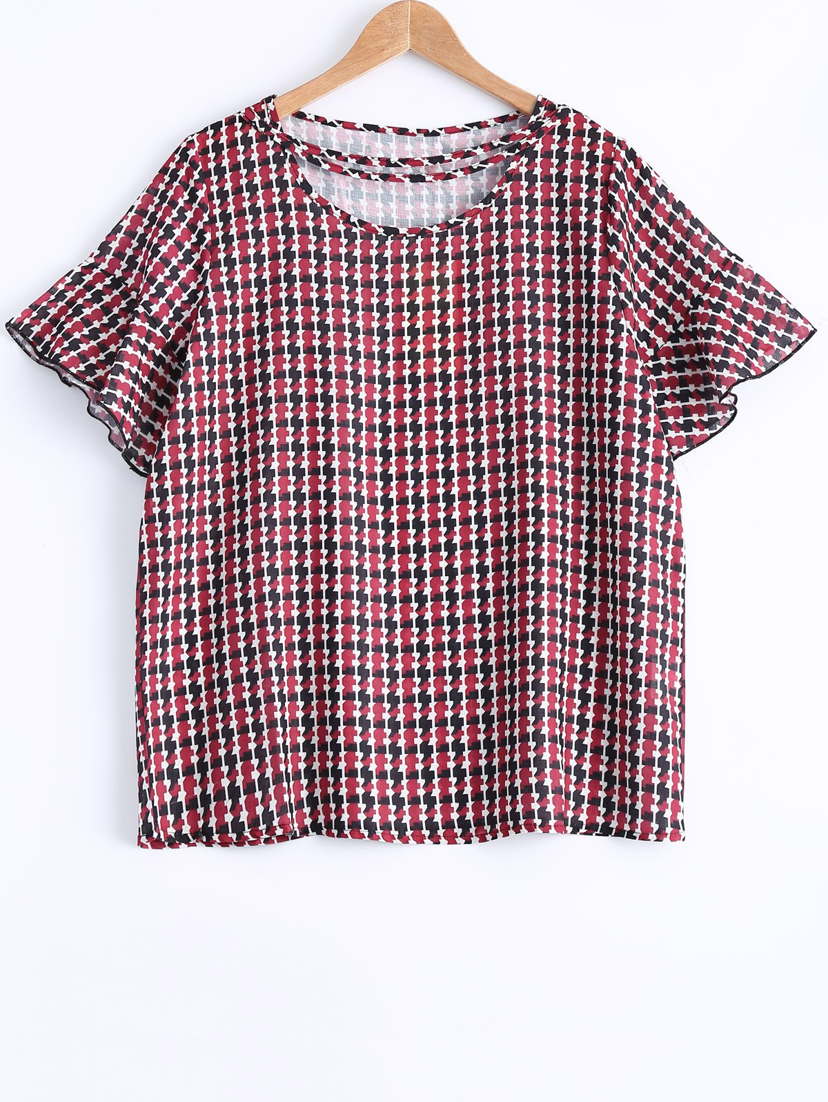 Oversized Sweet Houndstooth Print Flounced Sleeve Blouse - RED 3XL