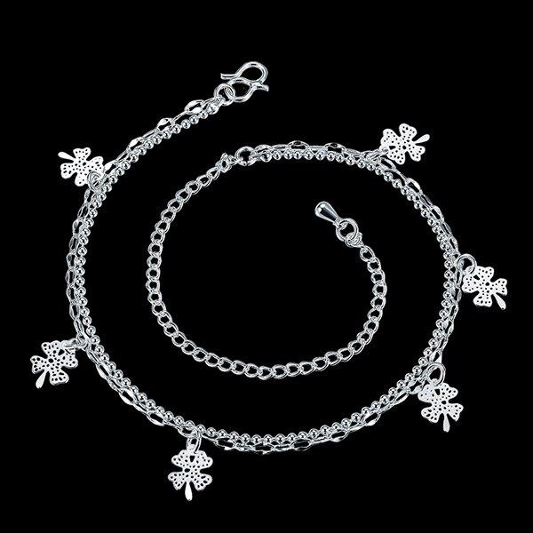 Delicate Solid Color Four Leaf Clover Charm Anklet For Women - SILVER
