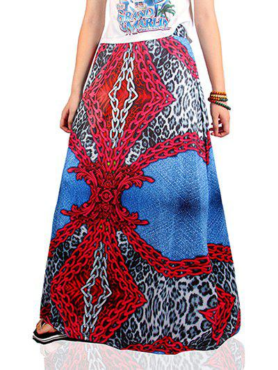 Ethnic Style Chain Pattern Skirt - COLORMIX S
