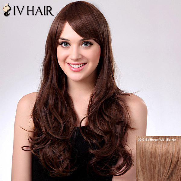 Graceful Capless Long Wavy Side Bang Women's Siv Human Hair Wig - BROWN/BLONDE