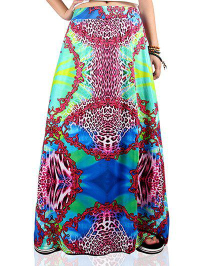 Ethnic Style Multicolor African Print Maxi Skirt - COLORMIX XL