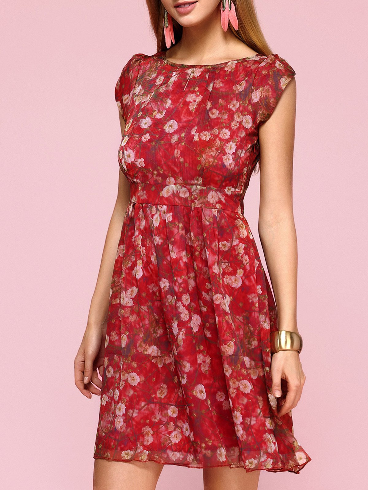 Elegant Jewel Neck Tulip Sleeve Floral Dress For Women - RED XL