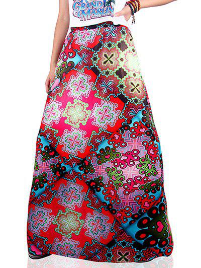 Ethnic Style Geometrical Print Skirt - COLORMIX XL