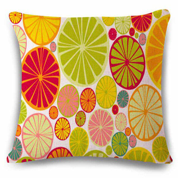 High Quality Colorful Lemon Slice Design Flax Pillow Case - COLORFUL