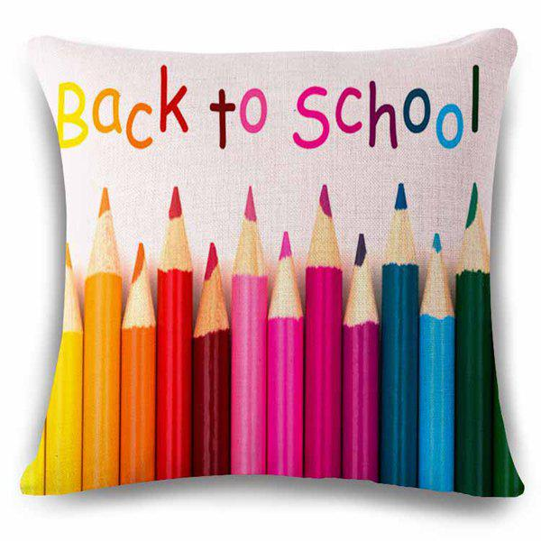 Sweet Colorful Back To School Quote Pencil Shape Flax Pillow Case - COLORFUL