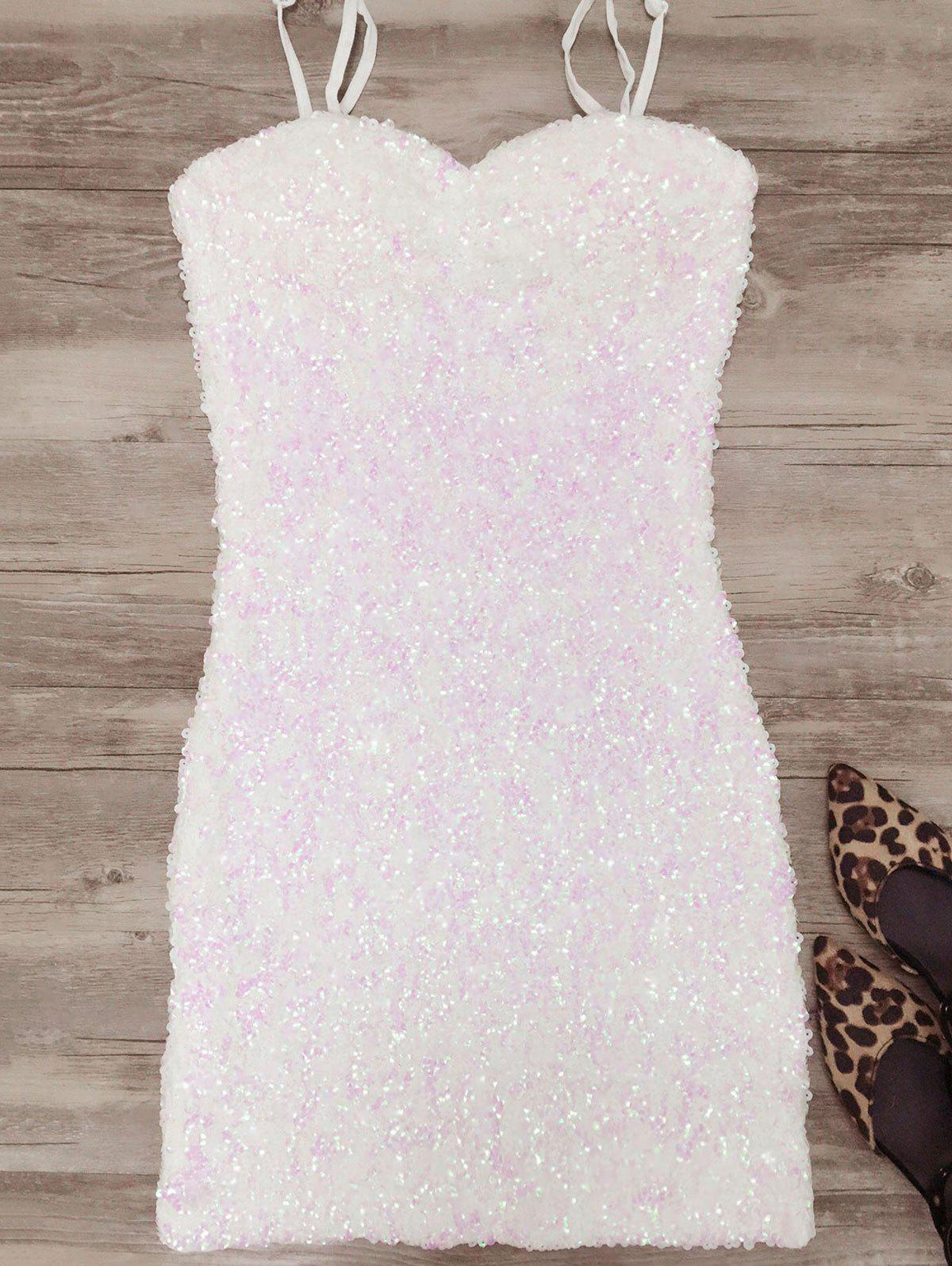 Mini Bodycon Slip Sequins Dress - WHITE ONE SIZE