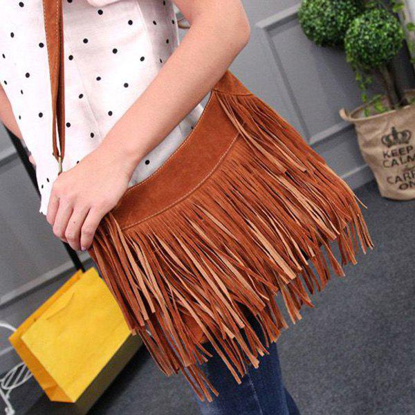 Fashionable Solid Color and Faux Suede Design Women's Shoulder Bag - BROWN