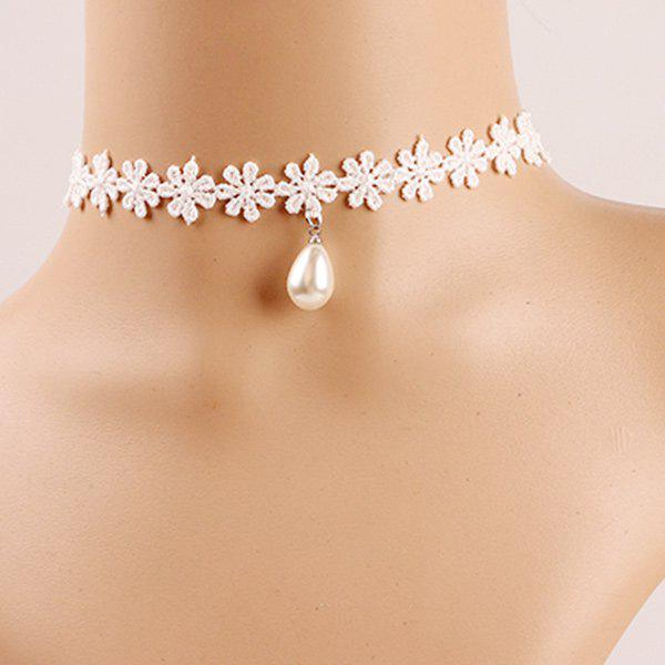 Delicate Teardrop Faux Pearl Crochet Flower Choker Necklace For Women