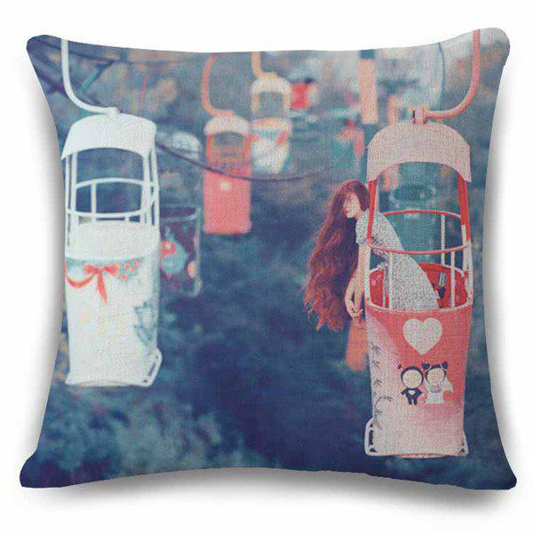 Retro Long Hair Lady in Cable Car Pattern Flax Pillow Case
