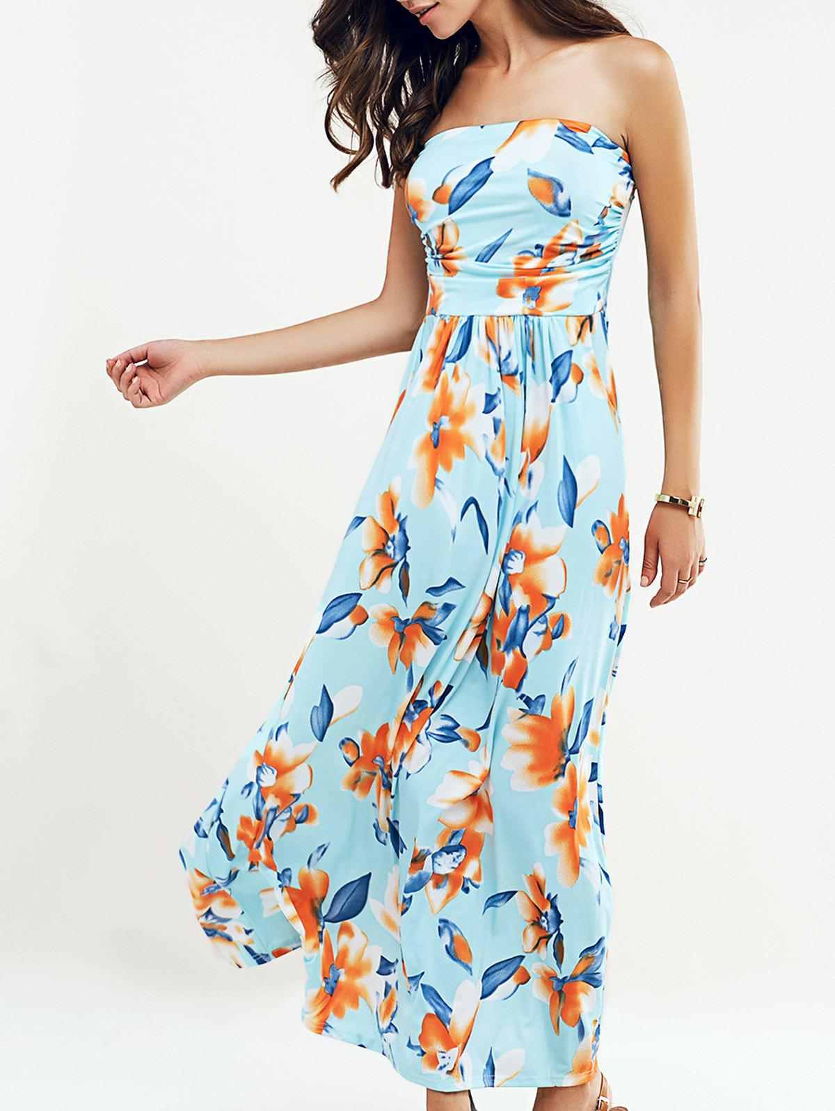 Beach Maxi Floral Print Strapless Dress - LIGHT BLUE XL