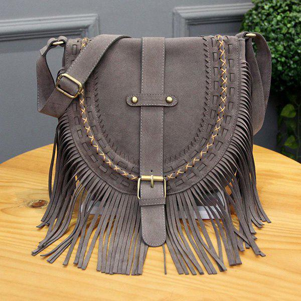 Ethnic Style Buckle and Weaving Design Women's Shoulder Bag - GRAY