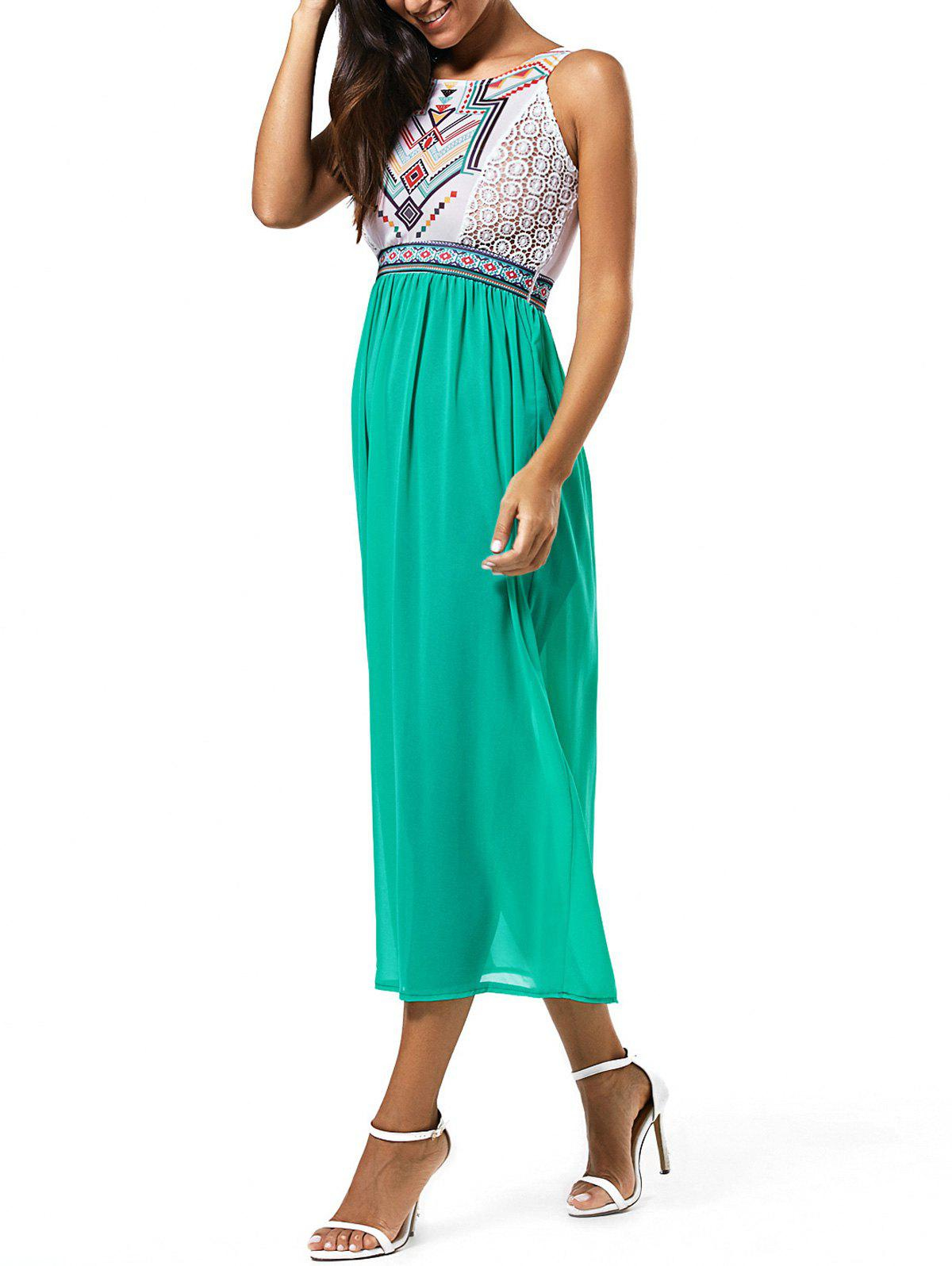 High Waist Ethnic Print Chiffon Dress - GREEN S