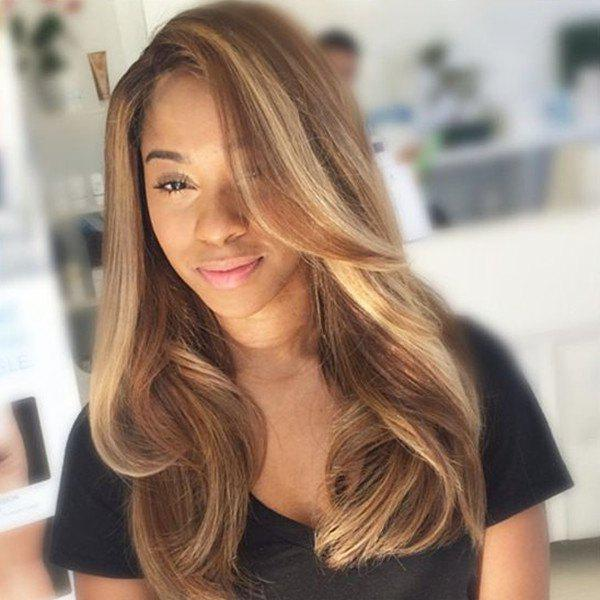 Fashion Long Wavy Side Parting Ombre Color Synthetic Hair Wig For Women