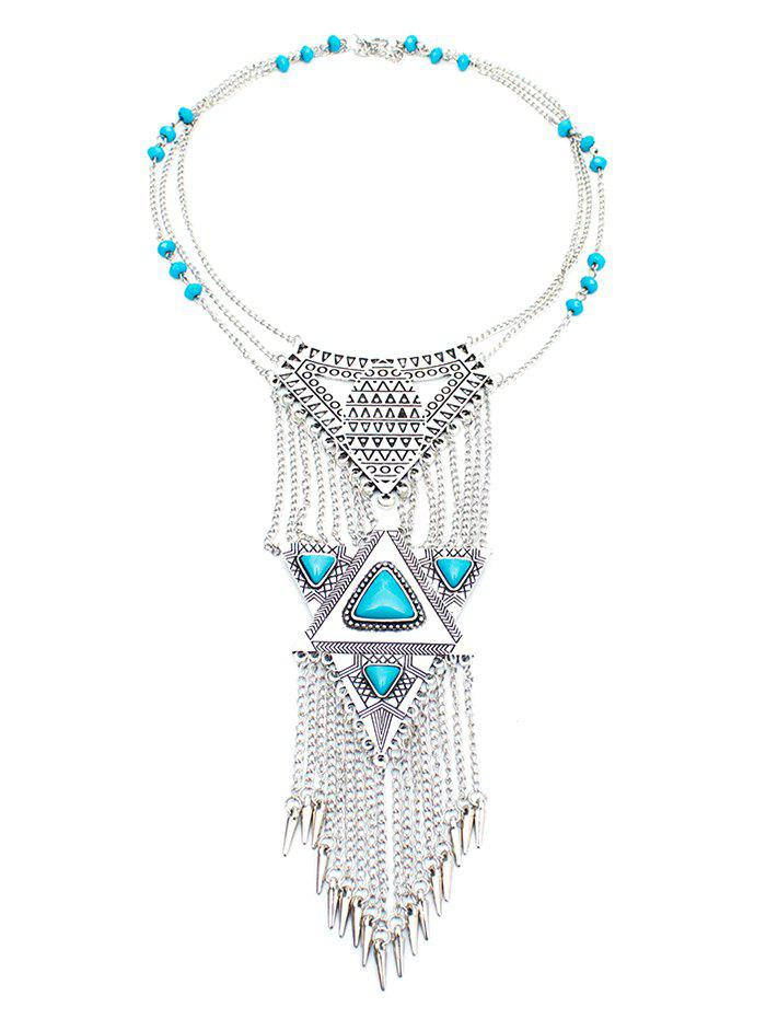 Vintage Faux Turquoise Triangle Necklace - SILVER