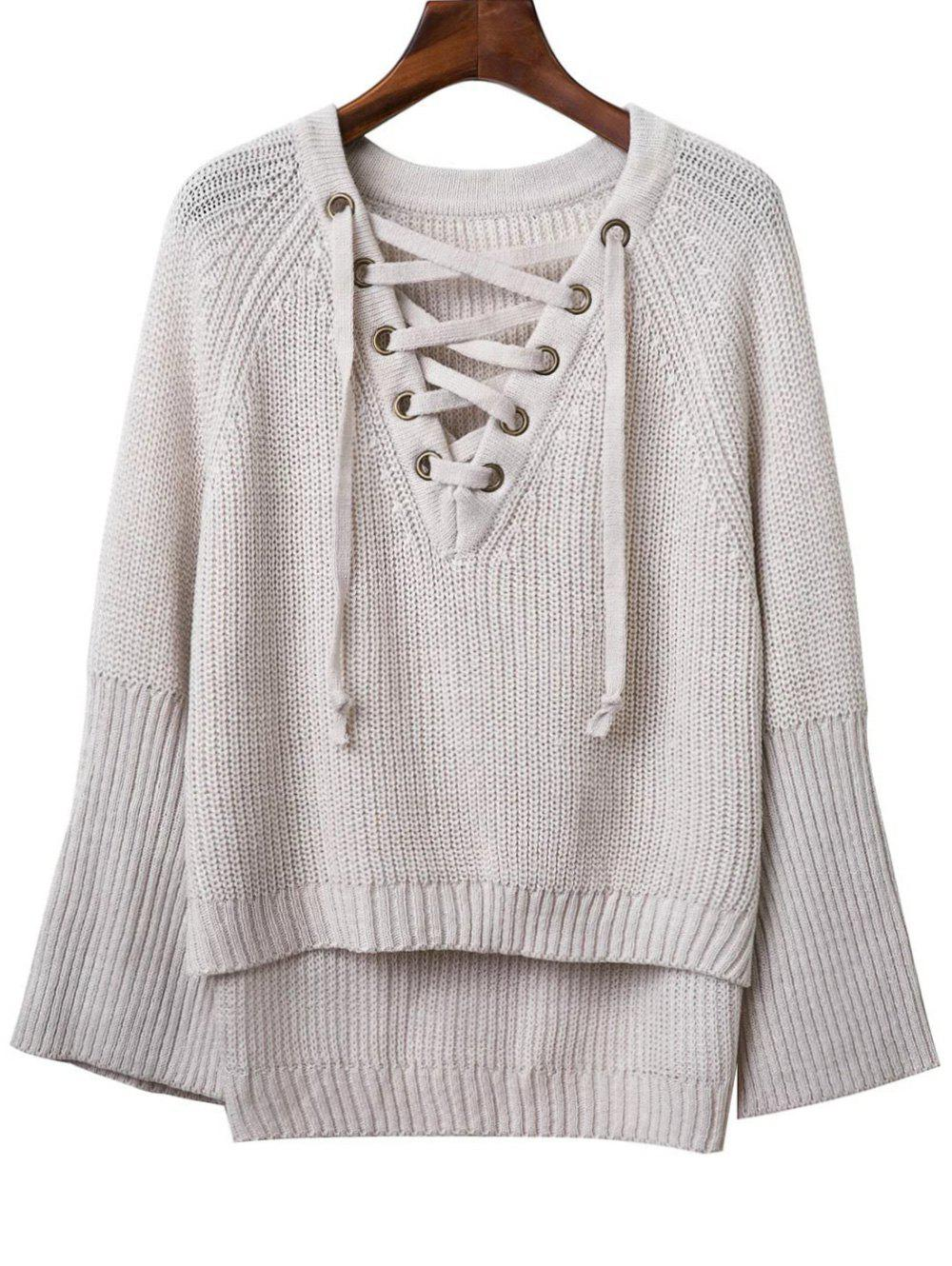 Fashion V Neck Long Sleeve Lace Up Sweater For Women - LIGHT GRAY ONE SIZE