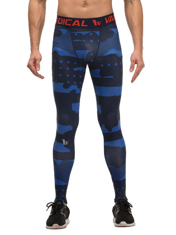 Fitted Quick-Dry Camouflage and Star Pattern Elastic Waist Men's Gym Pants - COLORMIX M