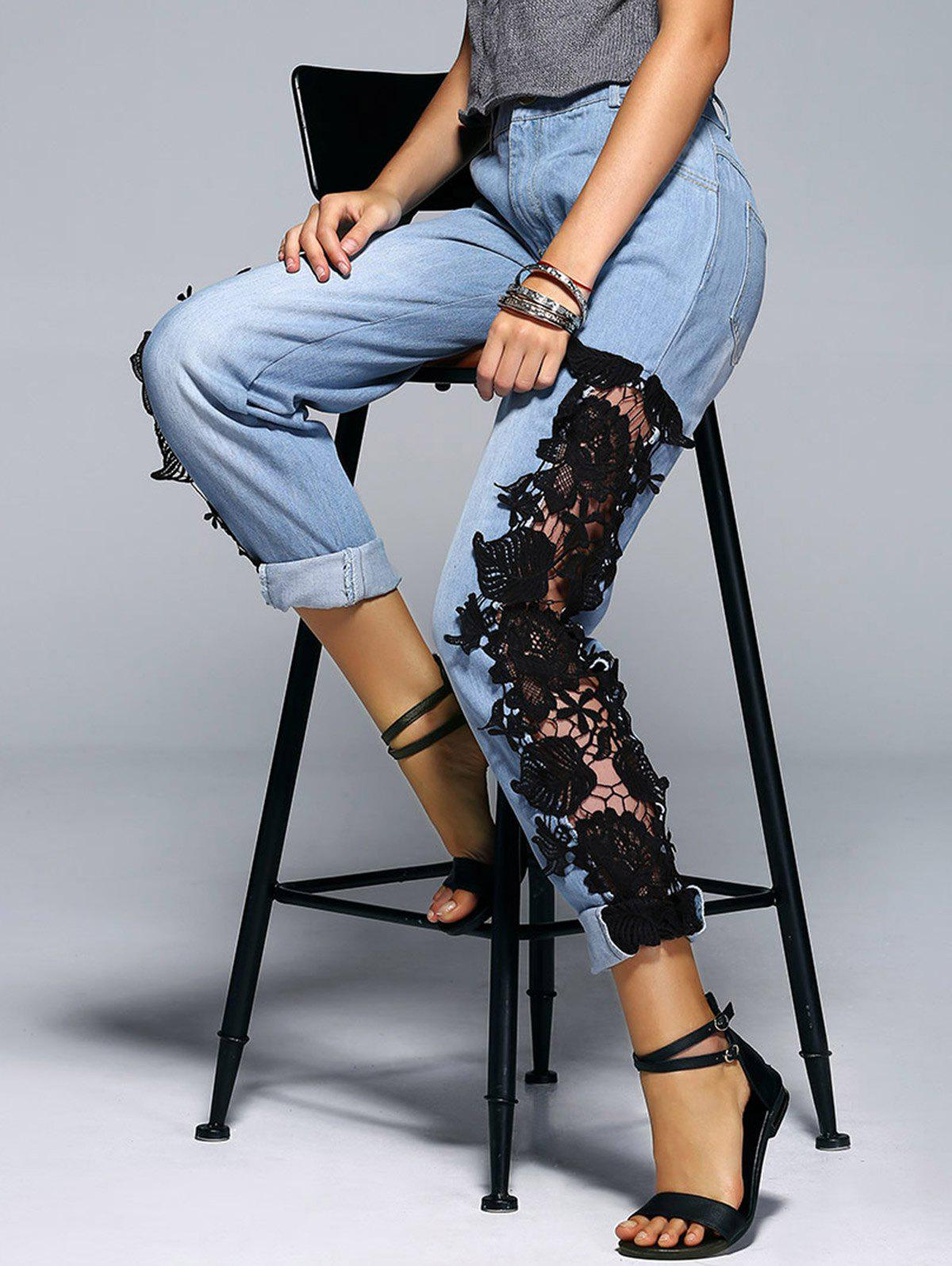Fashionable Applique Hollow Out Denim Pants For Women