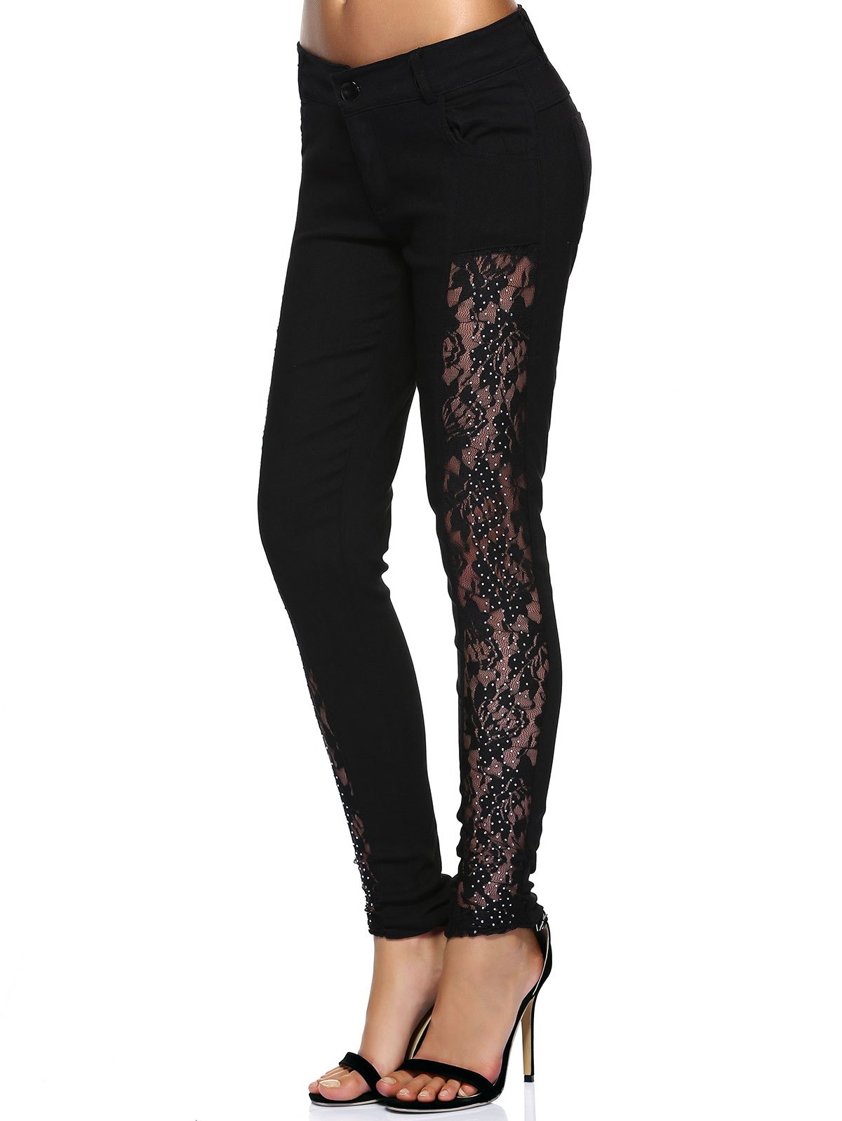 Stylish See-Through Beaded Lace Denim Pants For Women - BLACK XL