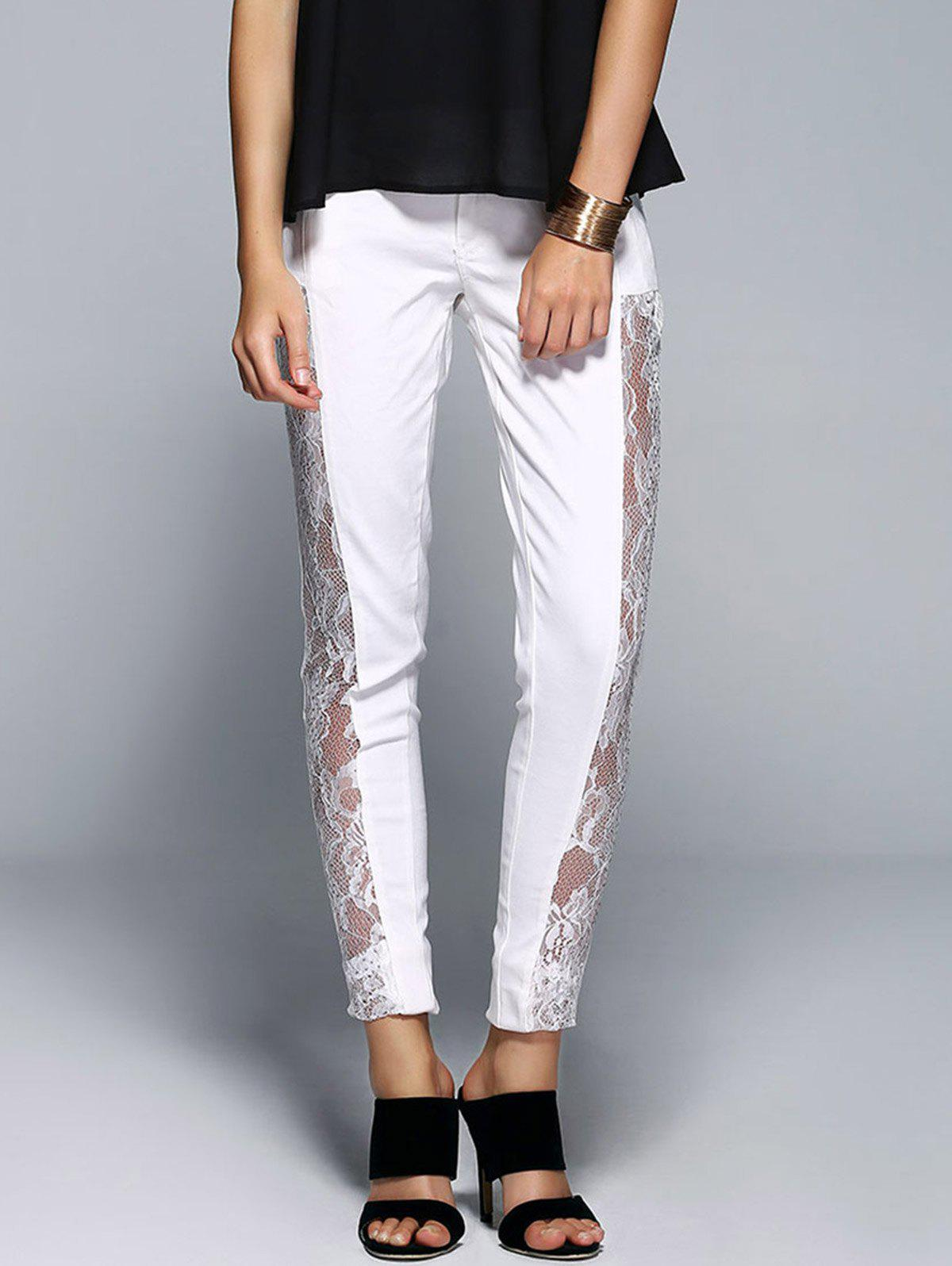 Stylish See-Through Beaded Lace Denim Pants For WomenWomen<br><br><br>Size: S<br>Color: WHITE