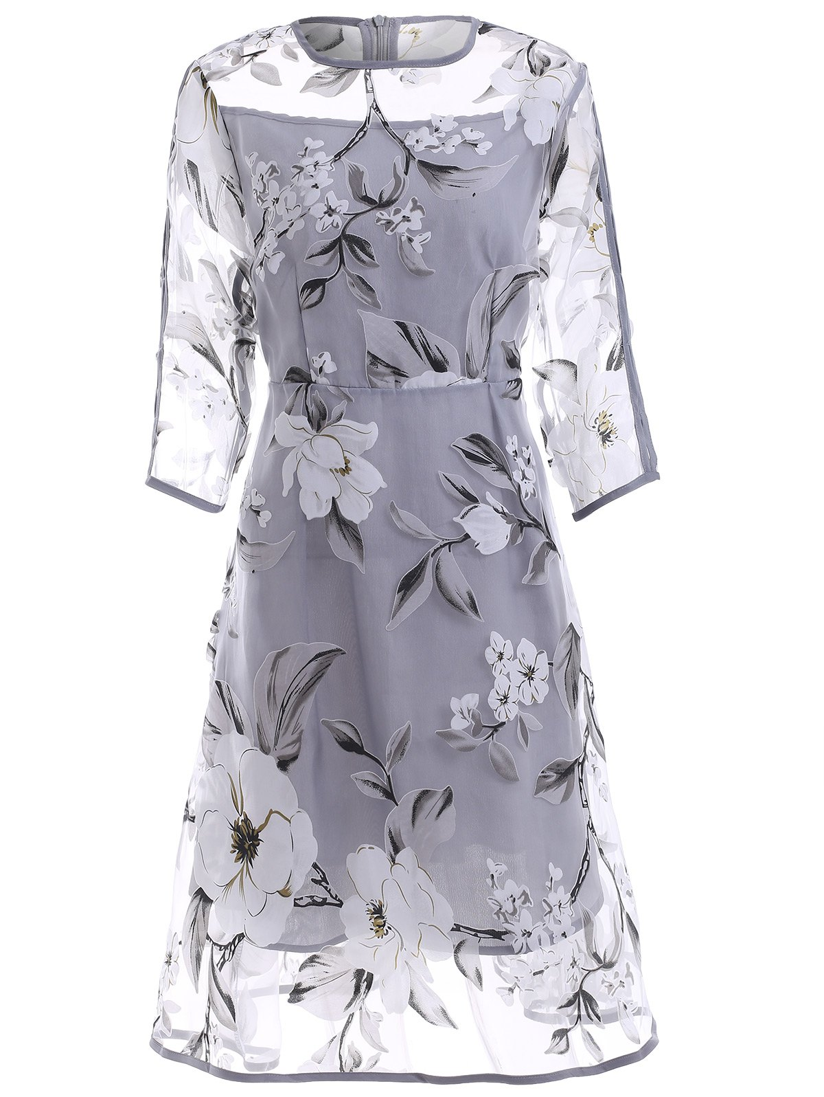 Sweet 3/4 Sleeve See-Through Floral Organza Dress For Women