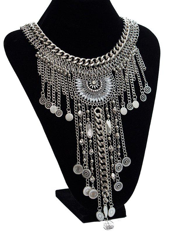 Vintage Faux Crystal Necklace - SILVER