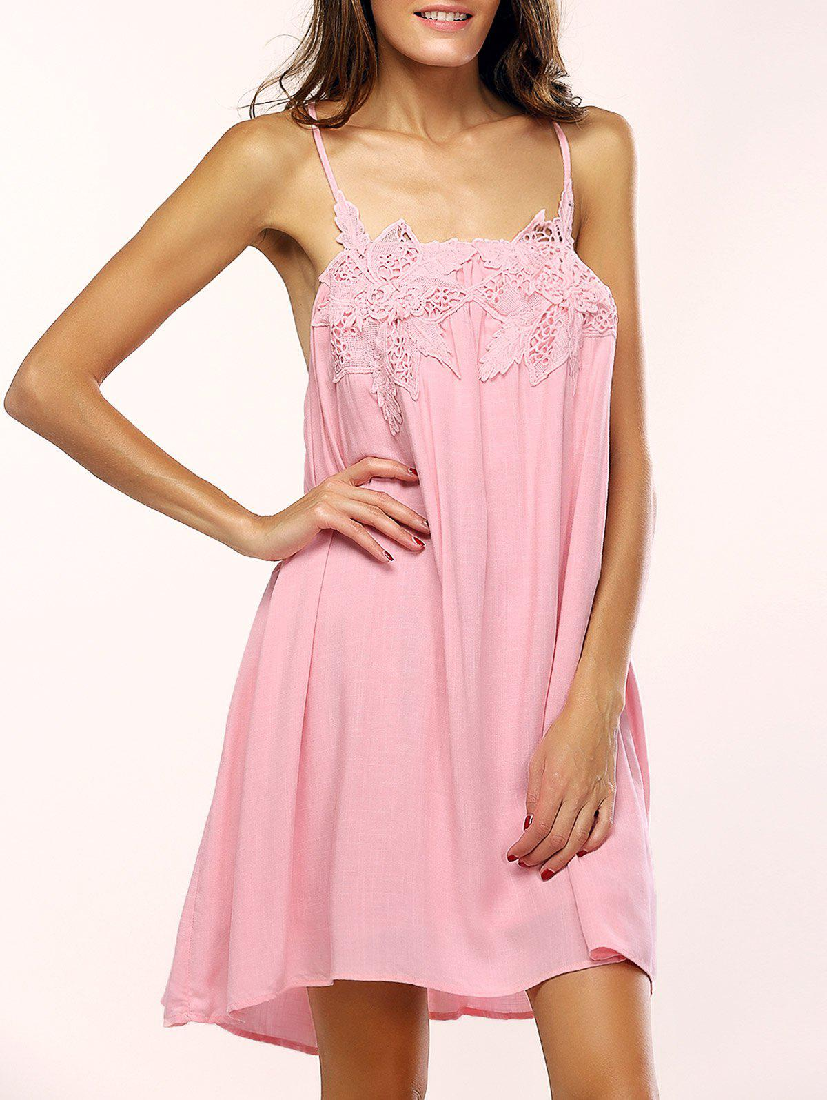 Charming Spaghetti Strap Floral Backless Dress For Women - PINK L